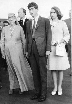 Prince Charles and Princess Anne with their Grandmother Princess Alice of Greece, The mother of Prince Philip, Alice founded a nursing order of Greek Orthodox nuns in