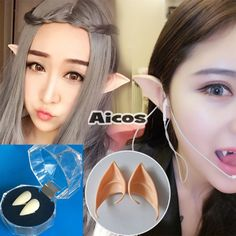 Halloween Cosplay Props Teeth Fairy Pixie Elf Latex Soft Prosthetic Ears…