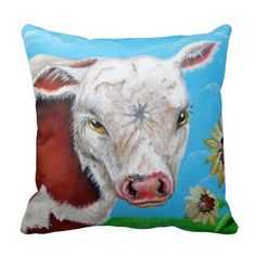 Cow  and Sunflower Design Pillow