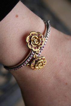 Art deco Rose  Bracelet Bangle   14 K white gold  over 925