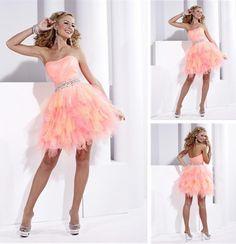 ab338b272e78d5 Mini kwastje regenboog organza korte cocktail jurken sweet 16 Knie Lengte  Jurken