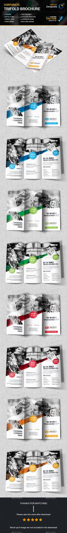 Photography Tri-Fold Brochure Template PSD. Download here: https://graphicriver.net/item/photography-trifold-brochure/17259613?ref=ksioks