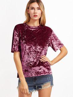 Crushed Velvet T-shirt -SheIn(Sheinside)