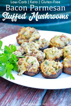 Bacon parmesan stuffed mushrooms are a gluten-free stuffed mushroom recipe is low-carb, filled with bacon, cheese, garlic, onions, and herbs that can be grilled or baked. #Grilled #Bacon #Mushrooms #SummerRecipes