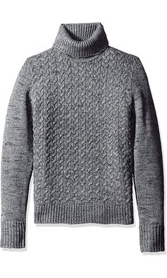 Calvin Klein Men's Wool Cable Knit Turtleneck Sweater, Monument, 2X-LARGE Best Price