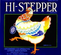 Escondido CA, Hi-Stepper Brand fruit crate label