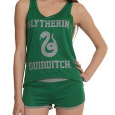 Harry Potter Slytherin Quidditch Mesh Lounge Tank Set