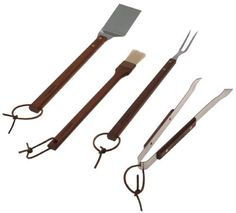 LamsonSharp 4-Piece Stainless Steel and Rosewood Barbecue Tool Set by Lamson. $71.99. Hand wash, food-grade mineral oil on handles. Made in the U.S.A.. Lifetime guarantee. Heavy-duty barbecue tool set includes turner, pronged fork, tongs and basting brush. High-carbon stainless cutlery steel with extra-long 14-inch rosewood handles. Amazon.com                This heavy duty professional barbecue set will make all the alpha grillers of the neighborhood salivate and run fo...