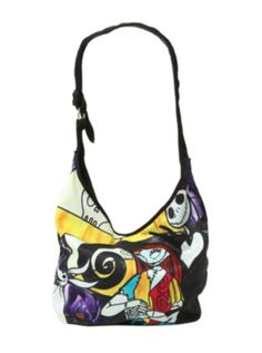 The Nightmare Before Christmas Jack & Sally Stained Glass Hobo Bag ($10.50-14.63) - Hot Topic