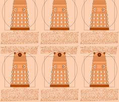 Vitruvian Dalek fabric by studiofibonacci on Spoonflower - custom fabric