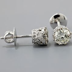 vintage diamond earrings. beautiful setting.