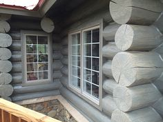 result for Grey Log Cabin Stain Cabin Exterior Colors, Log Homes Exterior, Exterior Stain, Exterior Paint Colors, Modern Log Cabins, Small Log Cabin, Log Cabin Kits, Log Cabin Homes, Cabin Ideas