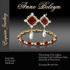 Exquisite Anne Boleyn Ruby Gold Earrings & Bracelet