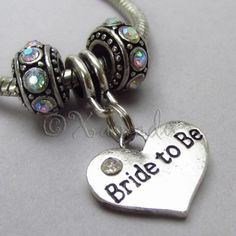 Bride To Be Birthstone Trio For Large Hole European Charm Bracelets