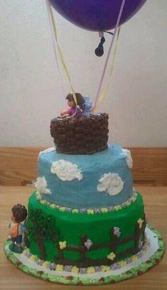 Backside of Dora cake. Love the hot air balloon idea!