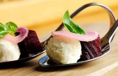 n this unconventional beetroot salad recipe, beetroot is roasted, pickled and served with cheese and pickled shallots as a delicious canapé from Josh Eggleton. Wedding Canapes, Wedding Catering, Wedding Menu, Best Canapes, Sheep Cheese, Great British Chefs, Cheese Salad, Appetisers, Gourmet