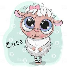 Cute Sheep girl on a blue background royalty-free cute sheep girl on a blue background stock vector art & more images of sitting