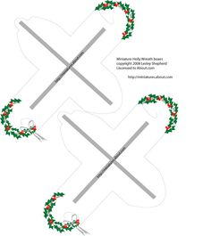 Free Printable Boxes for Christmas Miniatures or Small Presents: Make a Printable Miniature Holly Wreath Box