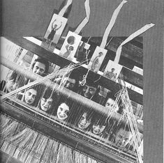 Photographic collage by Lux T Fieninger of Bauhaus students during a weaving workshop showing Anni Albers second from left, bottom row c.1938.