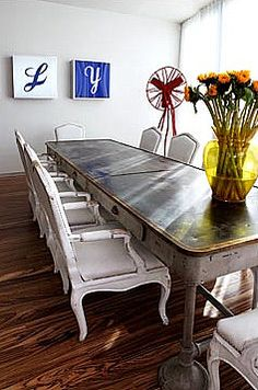 Re-purposed Library Table ~ I want this for my kitchen Modern Dining Table, Dining Room Table, Table And Chairs, Dining Area, Dining Rooms, Tables, Repurposed Furniture, Diy Furniture, Furniture Design