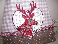 Tasche Schultertasche Umhängetasche Shopper Citybag rot/braun Hirsch    hier eine große geräumige Tasche für ausgedehnte Einkaufsbummel, Ausflüge u...