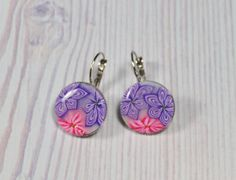 Puprle and pink polymer clay silver plated hanging by NuritNaor, $17.00