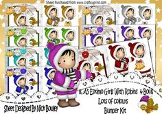 8 Lovely A5 Eskimo Girls with robins lace and bows bumper  on Craftsuprint - Add To Basket!