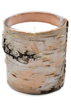 Birch Bark Candle. Can you imagine when the light shines through this? Simply perfect.