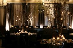 Branches with candles or small lanterns for tables and/ or the walkway. I may paint the branches black or silver.
