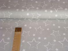 Baumwollstoff  Sterne groß grau von Stern Depot auf DaWanda.com