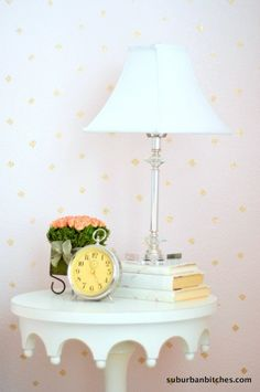A DIY blush and gold stenciled little girl's room using the Little Diamonds Allover pattern. http://www.cuttingedgestencils.com/little-diamonds-pattern-stencil-for-walls.html