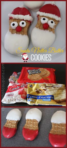 Nutter Butter Cookies Santa Nutter Butter Cookies - this could be a fun project to keep the kids busy.Santa Nutter Butter Cookies - this could be a fun project to keep the kids busy. Christmas Snacks, Christmas Cooking, Christmas Goodies, Christmas Candy, Christmas Holidays, Christmas Chocolates, Christmas Ideas, Xmas Food, Christmas Kitchen