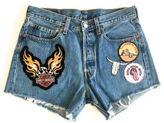I'll Drink To That Vintage 501 Levis Patched Denim Shorts
