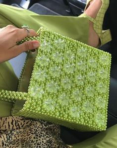 Trust Me—I'm an Editor: How to Wear Neon and Not Look Like a Human Glow Stick Neon Outfits, Beaded Bags, Cute Bags, Green Bag, Shades Of Green, Neon Green, Purses And Handbags, Fashion Bags, Favorite Color