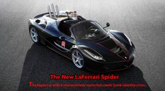 I created this to poke fun at the ironic name of convertible Italian cars (spider), and the way the LaFerrari in black with red trim looks very much like a new interpretation of a Batmobile. All I added was the exhaust pipes, light on top, and bat symbol on the door.