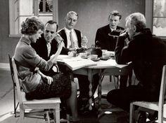 "Andersson, I. Bergman, G. Björnstrand, L. von Sydow on the set of ""Through a Glass Darkly"" Ingmar Bergman, Dark, Glass, Fictional Characters, Drinkware, Corning Glass, Fantasy Characters, Yuri, Tumbler"