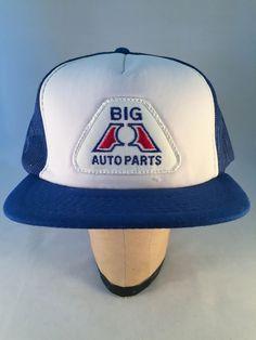 Vintage Big A Auto Parts Snapback Trucker Hat - Flat Brim - Blamm 8f809706bd79