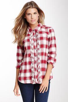 Long Sleeve Plaid Ruffle Shirt