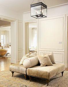 Lisa Sherry Interieurs Inc. + Two Ottomans + Bolster Pillow