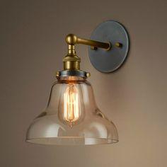 Vintage Wandlampen - Retro Vintage Glasglocke Wandlampe - ein Designerstück von…