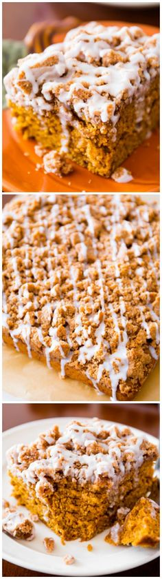 This is a MUST try! Moist and flavorful spiced-pumpkin coffee cake, piled high with a crumb topping and finished with a simple glaze!