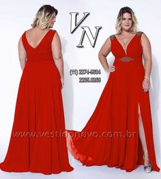 baadb5d30 Vestido vermelho plus size, tamanho grande, GG, com decote e fenda na frente
