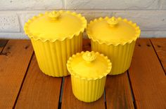 Vintage Yellow Kitchen Canisters by PennyRyeDesign on Etsy