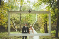 A Backyard Barn Wedding in the Woods: Lauren + Bud [they got married in front of that giant frame] LOVE.