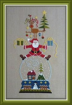 """Vivement Noel"" is the title of this delightful Christmas cross stitch pattern from Jardin Prive that features  Santa and Rudolph perched ab..."