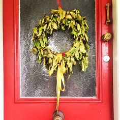 This Christmas wreath might be a bit wilted but it still looks great. Made from fresh bay tree leaves, wire and a long red ribbon Bay Leaves, Tree Leaves, Christmas Wreaths, Christmas Crafts, Red Ribbon, Handmade Crafts, Grapevine Wreath, Grape Vines, Crafts To Make