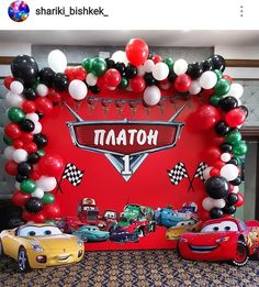 Disney pixar cars birthday party background drop mateo b Car Themed Parties, Cars Birthday Parties, Disney Cars Party, Disney Pixar Cars, Car Party, Pixar Cars Birthday, Birthday Party Background, Baby 1st Birthday, Cake Birthday