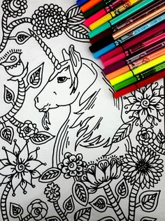 Unicorn Enchanted Coloring page, with many details, complex drawing to color, full of possibilities , color therapy! Attached we have 5 pictures for