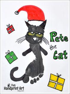 Footprint Pete the Cat Craft - Pete the Cat Saves Christmas Toddler Art, Toddler Crafts, Preschool Crafts, Daycare Crafts, Preschool Ideas, Kids Crafts, Handprint Butterfly, Handprint Art, Cat Footprint