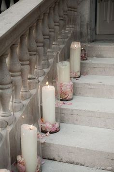Pillar Candles in Cylinder Vases with Flower Petals